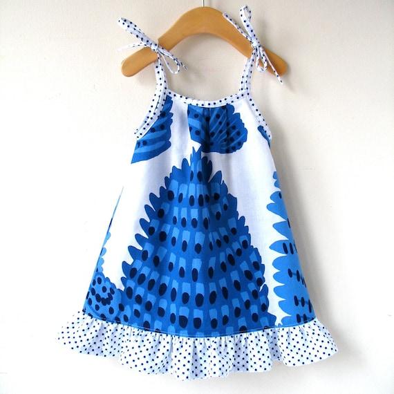 Size 12 Month Sundress in Blue and White Marimekko Cotton