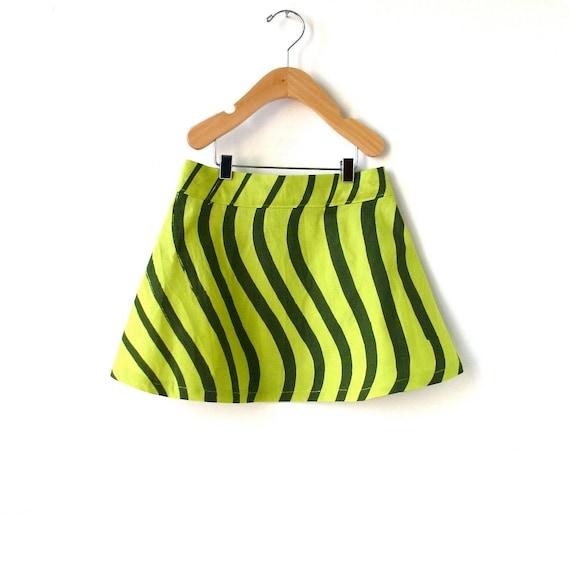 Girls Size 4 Marimekko Skirt- Green Waves