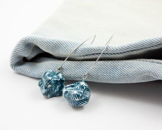 Blue Jeans Denim Dangle Earrings