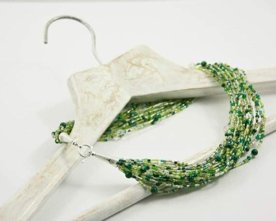 Grass Green Necklace Beaded