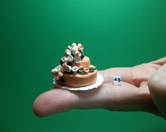 1/12 Scale Dollhouse Miniature Wedding or Special Occasion Fondant-Style Cake