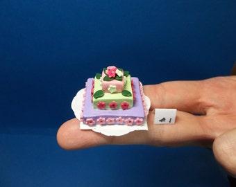 1/12 Scale Dollhouse Miniature Multi-tiered Fondant-Style Cake