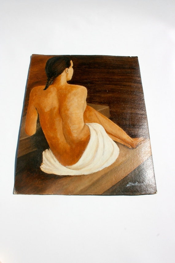 Vintage oil painting portrait of a reclining woman