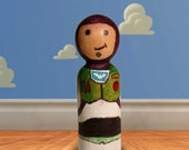 OOAK Buzz Lightyear Peg Person - Hand-Painted Figurine from Toy Story