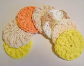 Crocheted Face Scrubbies in 100 percent cotton....7 ready to ship scrubbies