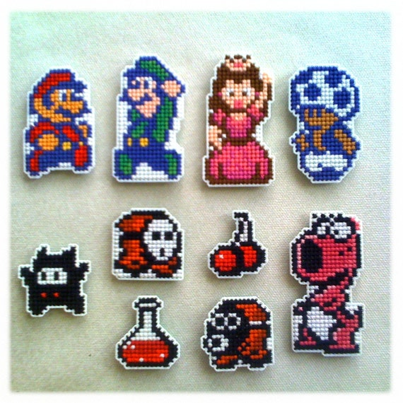Super Mario Bros. 2 8-bit magnets - handmade