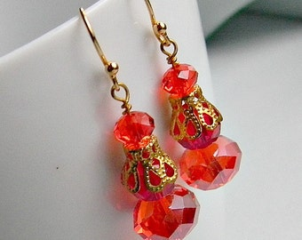 Earrings Ruby Red Gold glass crystals