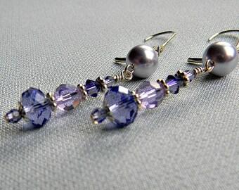 Swarovski Crystal Sterling silver earrings Lavender pearl White Platinum Bordeaux Lavender