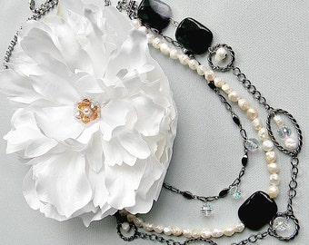 Necklace Real Touch Flower Chic Necklace Fresh Water White Pearls Cupchain