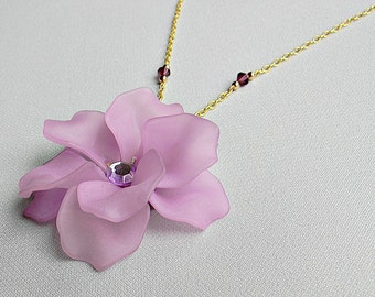 Lilac Flower Necklace Gold Crystal Jewelry