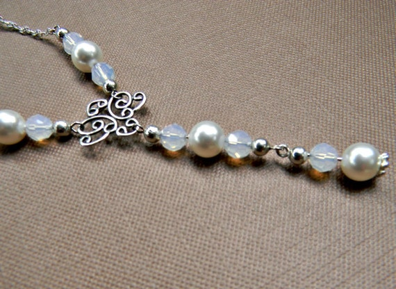 Swarovski Bridal necklace white pearls and white opal crystals