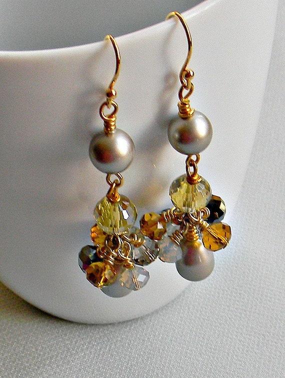 SALE - Swarovski Earrings, honey and mustard Swarovski pearls and glass crystals White Platinum Bordeaux Lavender