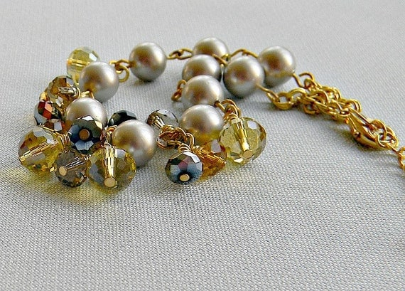 SALE - Bracelet honey and mustard, Swarovski  pearls and glass crystals