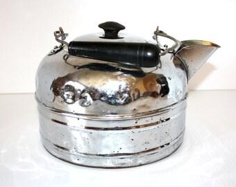 Vintage Large Nickel Plated Kettle Copper Bottom
