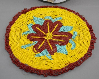 Antique Blackfoot Native American Beaded Patch Hot Pad 1930s 1940s