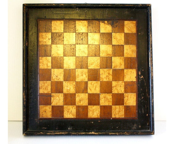 Antique Primitive Wood Chess Checker Game Board Inlaid Bird