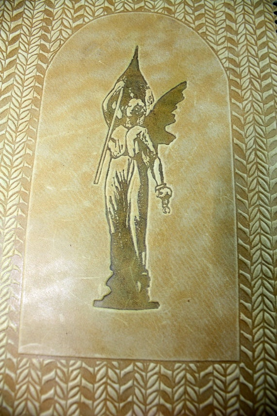 Book Cover Art Deco : Vintage leather book cover art deco tooled lady liberty