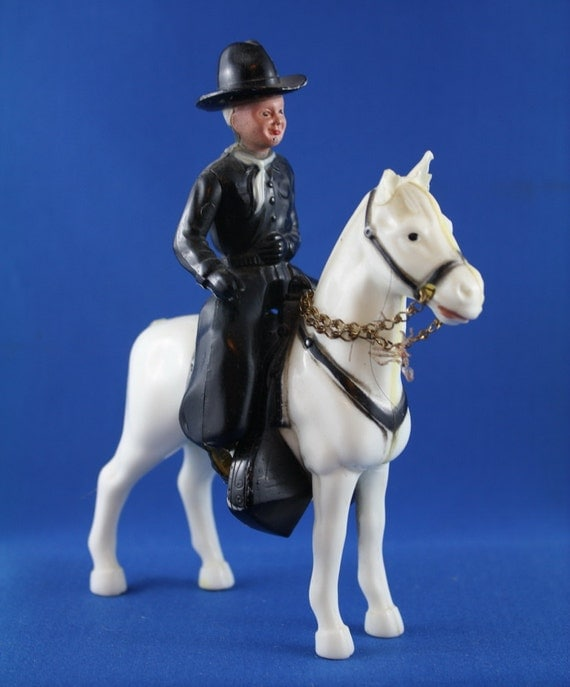 Vintage Hopalong Cassidy And Horse Plastic Toy By