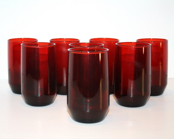 Vintage Ruby Glass Red Glasses Set of 8