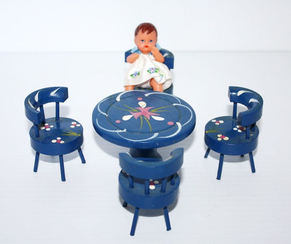 Vintage Doll Furniture Table 4 Chairs and Doll Blue Hand Painted Folk Art