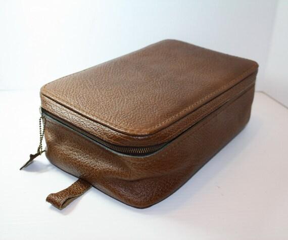 Vintage Genuine Leather Travel Night Case Unused Mid Century