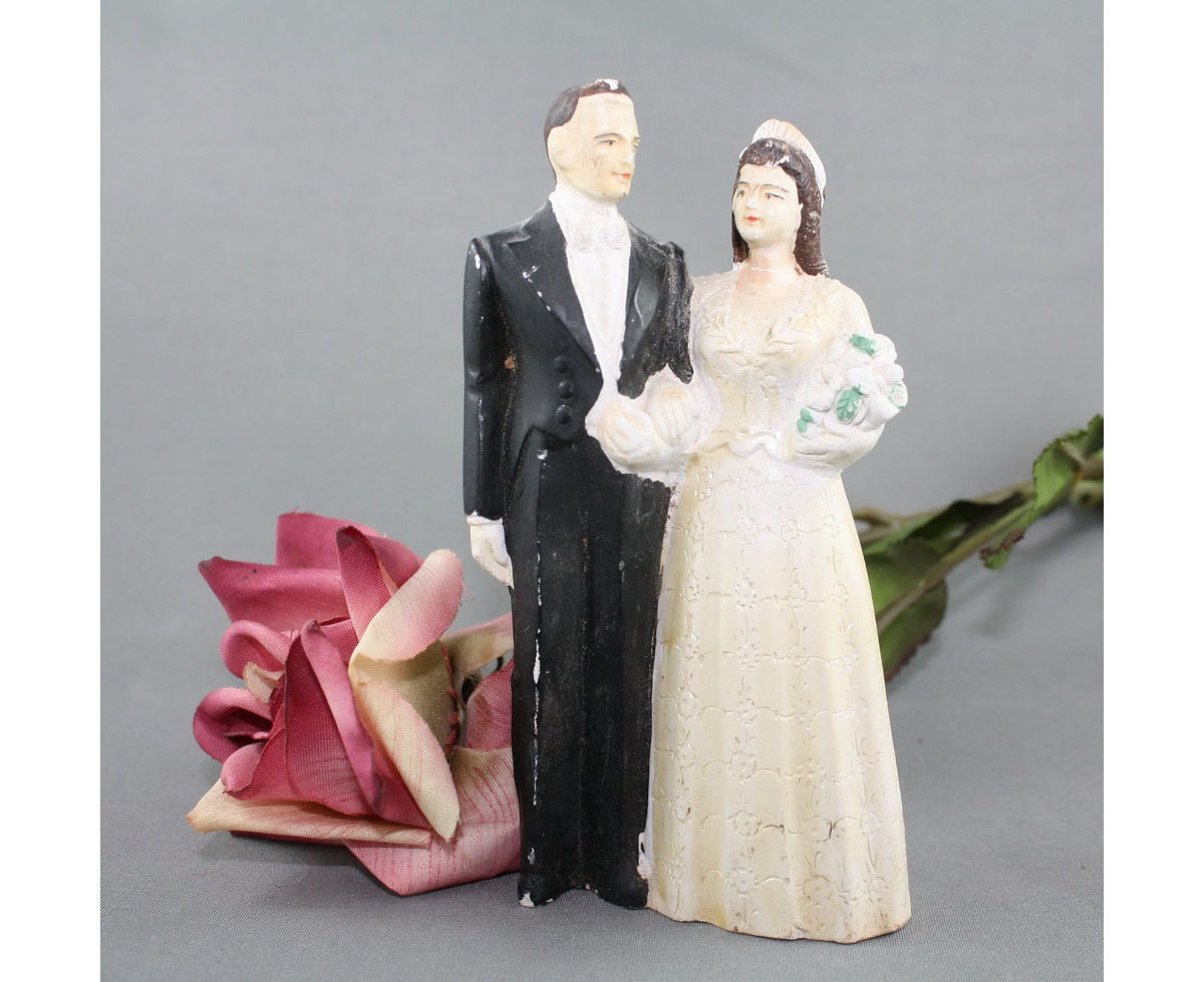 Vintage Wedding Gifts For Bride And Groom : Vintage Wedding Cake Topper Bride and Groom Dated 1949