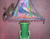 Original Painted lamp Shade, Peacock ,  Antique Lamp, Purple Green Blue,  Shirin Mackeson