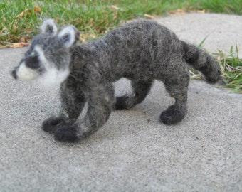Small raccoon needle felted