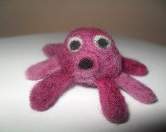 small octopus purple needle felted