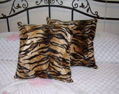 Faux Fur Handmade Bengal Tiger Print Throw Pillows Set of 2 - 15 X 15 Decorative, Couch Pillows, Den, Living Room, Bed Room, Great Gift