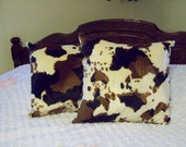 Faux Fur Brown, Black and Tan Cow Pillows Set of 2, 15 X 15 Great Gift and Nice Cow Decor Ready to Ship