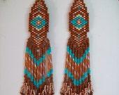 Beautiful Native American Design Beaded Turquoise, Seinna, Copper Earrings Made to Order Southwestern, Boho, Geometric, Brick Stitch, Gypsy