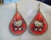 Hello Kity Style Thread Earrings Red and White Southwestern, Hippie Boho, Cartoon Cat, Native, Great Gift, Ready to Ship