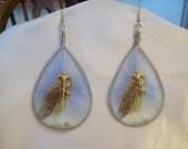 "SALE Native Thread Earrings ""Golden Owl on top a Rock"" Wild Life Southwestern, Boho, Hippie Ready to Ship Great Gift"