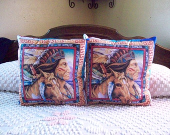 SALE Native American Indian and Horse Handmade Throw Pillows Set of TWO 16 X 16 Southwestern, Boho, Man Cave Gift Made and Ready to Ship