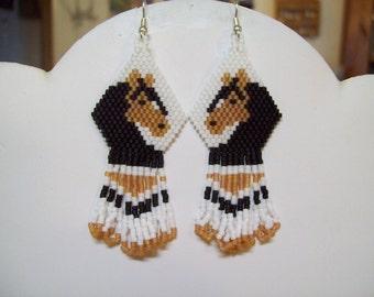 Native American Style Beaded Bay Horse Earrings Southwestern, Boho, Brick Stitch, Peyote, Loom, Gypsy, Great Gift