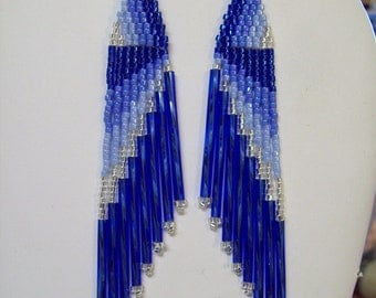 "Beautiful Native American Style Beaded Earrings in Blue and Silver 4"" Deilca Beads, Southwestern, Brick Stitch, Hippie, Boho Great Gift"