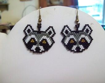 Native American Style Beaded Raccoon Animal Wildlife Earrings Southwestern, Boho, Hippie Wild Life