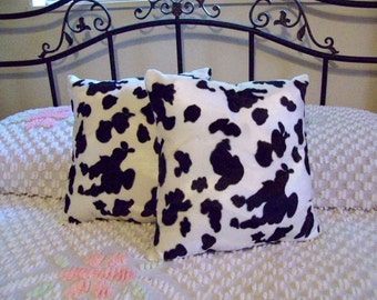 Faux Fur Black and White Handmade Cow Print Throw Pillows Set of 2 - 15 X 15 Living Room, Den, Bed Room Great Decor Great Gift