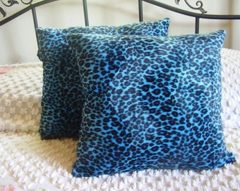 Faux Fur Handmade Turquoise Blue Leopard Print Throw Pillows Set of 2 - 15 X 15 Great Decor for any Bedroom, Den, Living Room Ready to Ship