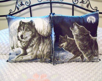 Beautiful Handmade Blue Cotton Wolf Pillows Wild Life Set of 2-  17 X 17 Nice Decor, Great Gift Southwestern Boho Living Room Great Gift
