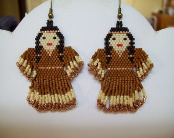 Native Amerian Style Beaded Indian Doll Earrings in Copper and Sienna Southwestern, Peyote, Brick Stitch, Hippie, Boho, Great Gift