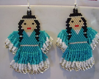 Native Amerian Style Beaded Indian Doll Earrings in Turquoise and Silver Delcia Beads Southwestern, Brick Stitch, Peyote, Hippie, Boho