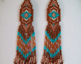 Beautiful Native American Style Beaded Turquoise, Seinna, Copper Earrings Made to Order Southwestern, Boho, Geometric, Brick Stitch, Gypsy