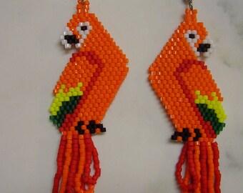 Beautiful Beaded Orange Green and Yellow Parrot Macaw Earrings Southwestern, Boho, Brick Stitch, Peyote, Hand Made, Native Tropical Bird