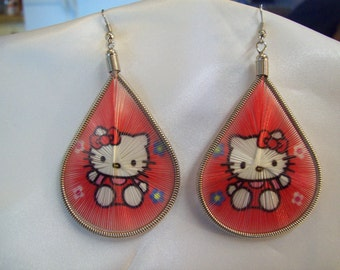 SALE Hello Kity Style Thread Earrings Red and White Cartoon Cat Southwestern, Hippie Bohemian, Native, Great Gift, Ready to Ship