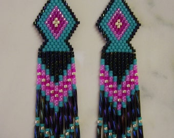 Native American Style Beaded Earrings in Peacock, Turquoise Hot Pink and Silver Southwestern, Brick Stich, Peyote, Boho Hippie Ready to Ship