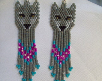 Native American Style Beaded Wolf Earrings in Grey and Turquoise Southwestern, Boho, Brick Stitch, Peyote, Gypsy Great Gift