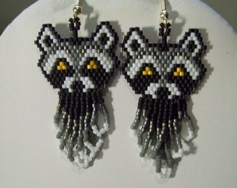 Native American Style Beaded Old Wise Raccoon Earrings Animal Wildlife, Southwestern, Brick Stitch, Peyote, Boho, Great Gift