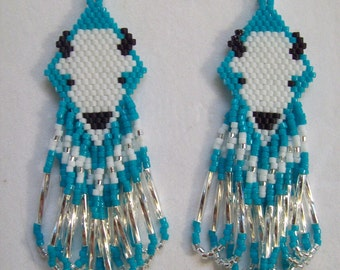 Native American Style Beaded White Buffalo Earring in Turquoise and Silver Southwestern, Hippie, Boho, Great Gift